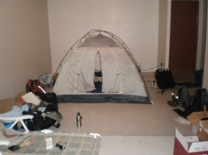 Photo of tent in livingroom