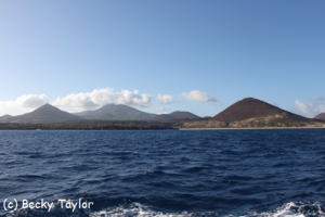 The peaks of Ascension Island rising from the south Atlantic.