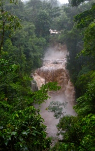 Rara Avis waterfall in flood