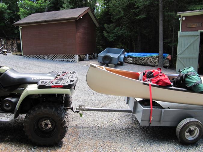 ATV pulling canoe