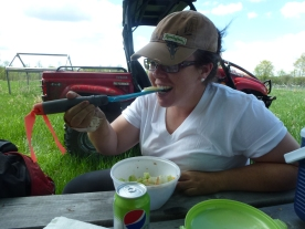 eating with a garden trowel.