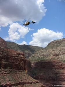 Airlifting the missing person's remains out of the canyon