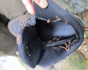 This is what your shoe looks like after a few minutes walk in the monsoon season.