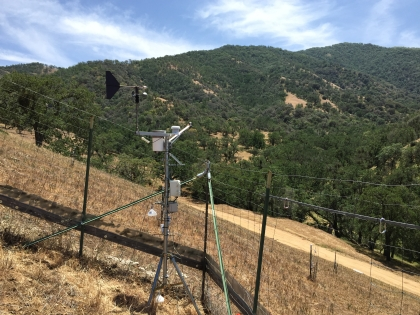 A common garden exclosure with a weather station. Tejon Ranch foothills, California.