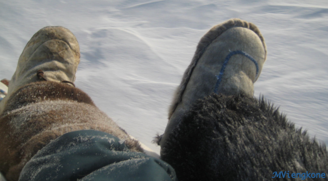 Warm feet make for a comfortable ride on the sled.