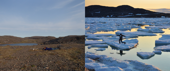 Left: photographing skulls in the Arctic. Right: ice yoga.