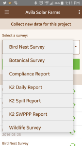 Examples of survey types in the app.