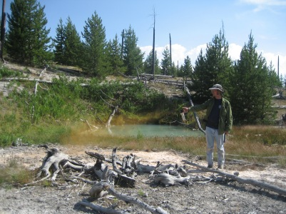 Jeff trying out the bear spray