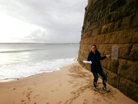 surveying a seawall at St. Ives