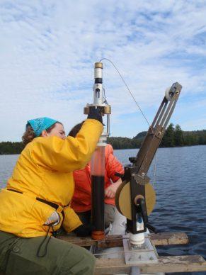 Examining a sediment core