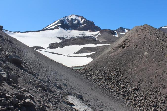 The view that greeted us as we made it up the moraine at the base of Diller Glacier on Middle Sister, OR. We were excited to see the lake at the base of the glacier, and even more excited to not have any moraine rocks tumbling down on us.