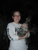 Sarah holding a large snake
