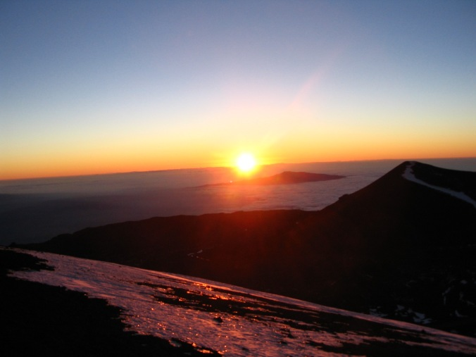 Watching the sunset from the top of Mauna Kea.