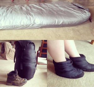 winter sleeping bag and booties