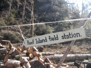 Reef Island field station sign