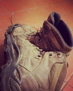 My poor, finally beaten, boots.