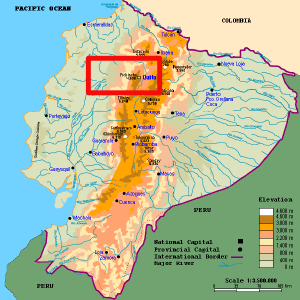 Map of Ecuador showing the area explored in red.