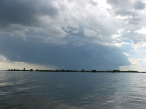 Impending doom: a storm approaching across Lake Winnipeg.